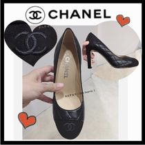 CHANEL ICON Round Toe Blended Fabrics Plain Leather Elegant Style