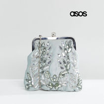 ASOS 2WAY Chain Plain Party Style With Jewels Clutches