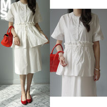 U-Neck Plain Cotton Long Short Sleeves Midi Office Style