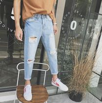 Denim Street Style Plain Oversized Joggers Jeans & Denim