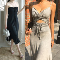 Casual Style A-line Sleeveless V-Neck Plain Long Dresses