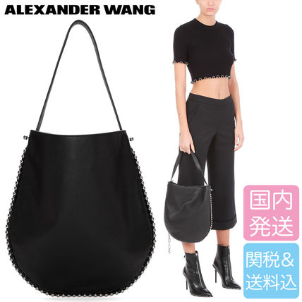 Casual Style Studded Street Style Plain Leather Totes