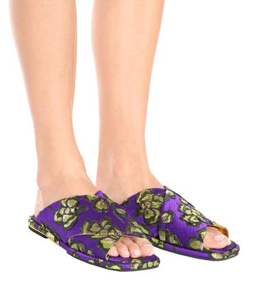 Flower Patterns Open Toe Rubber Sole Elegant Style Slippers