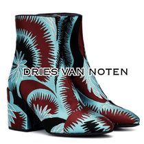 Dries Van Noten Round Toe Elegant Style Chunky Heels Ankle & Booties Boots
