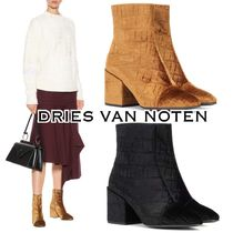 Dries Van Noten Round Toe Velvet Other Animal Patterns Elegant Style