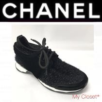 CHANEL ICON Rubber Sole Casual Style Velvet Blended Fabrics Street Style