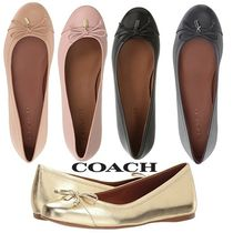 Coach Round Toe Rubber Sole Plain Leather Flats