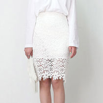 Pencil Skirts Plain Medium Midi Lace Elegant Style