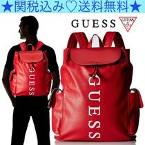 Guess Unisex Faux Fur A4 Plain Backpacks