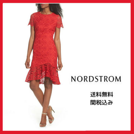 Flower Patterns U-Neck Medium Short Sleeves Dresses