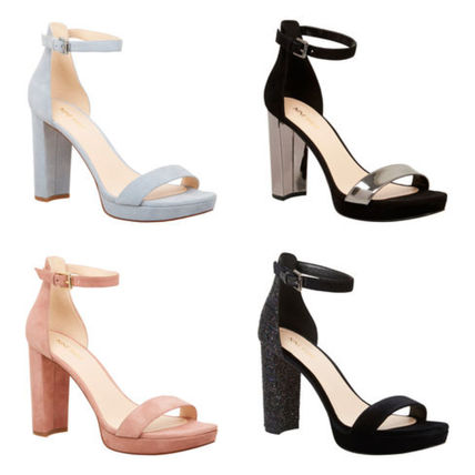 low priced outlet boutique 100% authentic Nine West 2018 SS Suede Plain Block Heels Heeled Sandals