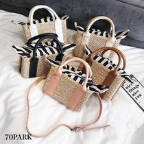 Stripes Casual Style Faux Fur 2WAY Straw Bags