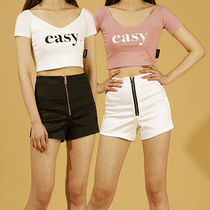 BASIC COTTON Short Casual Style Street Style Plain Shorts