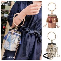 Tassel Street Style 2WAY Crossbody Straw Bags