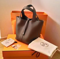 HERMES Picotin Collaboration Plain Leather Elegant Style Handbags