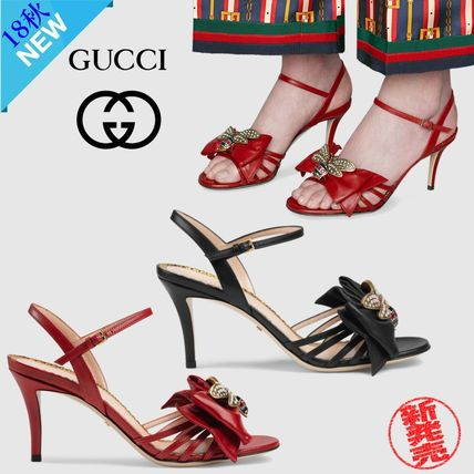 c8d6f265650 ... GUCCI Heeled Open Toe Plain Leather Pin Heels With Jewels Elegant Style  ...