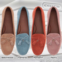efc826c69ced Coach Round Toe Casual Style Suede Tassel Plain Slip-On Shoes