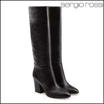 Sergio Rossi Casual Style Plain Leather High Heel Boots
