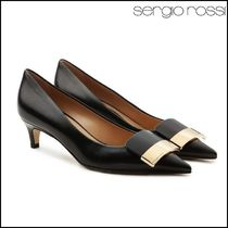 Sergio Rossi Leather Pin Heels Elegant Style Stiletto Pumps & Mules