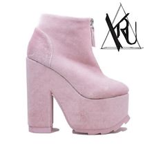 YRU Platform Casual Style Suede Plain Ankle & Booties Boots