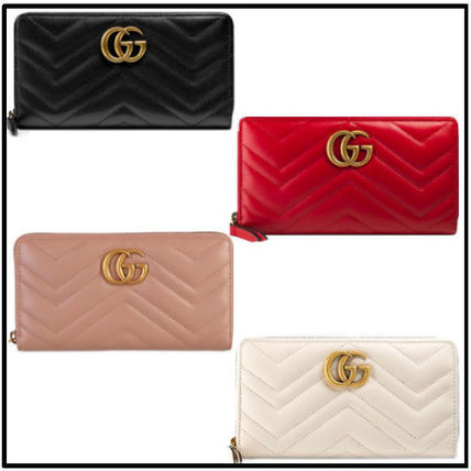 70f07b40f1b GUCCI GG Marmont 2019 SS Monogram Plain Leather Long Wallets (443123 ...