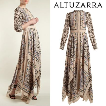 Crew Neck Flower Patterns Leopard Patterns Casual Style Maxi