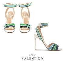VALENTINO Stripes Open Toe Leather Elegant Style