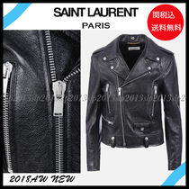 Saint Laurent Short Blended Fabrics Plain Leather Biker Jackets