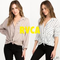 RVCA Stripes Casual Style Cotton Shirts & Blouses