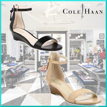 Cole Haan Open Toe Casual Style Plain Leather Platform & Wedge Sandals