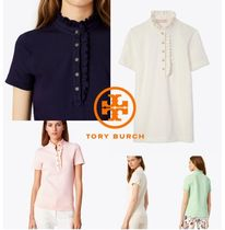 Tory Burch Plain Cotton Short Sleeves Polo Shirts