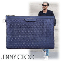 Jimmy Choo Star Street Style A4 Plain Leather Clutches