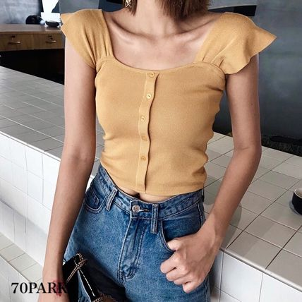 Short Casual Style Rib Street Style Plain Icy Color