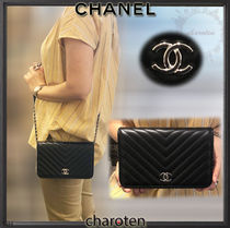 CHANEL CHAIN WALLET Lambskin Studded 3WAY Chain Plain Elegant Style