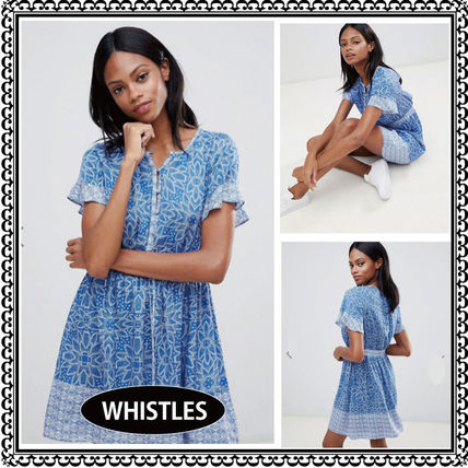 Short Tropical Patterns Casual Style Flared Short Sleeves