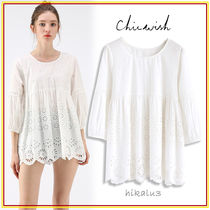 Chicwish Flower Patterns Casual Style Cropped Plain Medium Lace