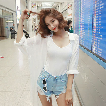 Shirts & Blouses Casual Style Street Style Long Sleeves Plain Cotton Long
