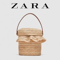 ZARA Casual Style 2WAY Plain Straw Bags