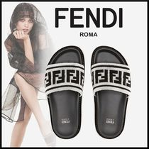 FENDI Casual Style Blended Fabrics Plain Leather Slippers Sandals