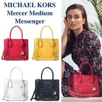 Michael Kors MERCER Flower Patterns Street Style 2WAY Plain Leather With Jewels