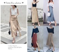 Flared Skirts Casual Style Street Style Plain Long Midi