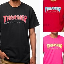 THRASHER Crew Neck Pullovers Street Style Cotton Short Sleeves