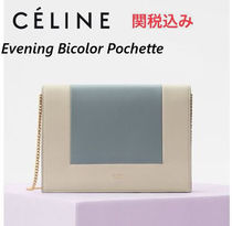 CELINE Frame Lambskin 2WAY Bi-color Chain Party Style Clutches
