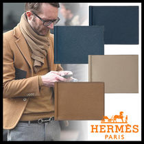 HERMES Street Style Plain Leather Folding Wallets