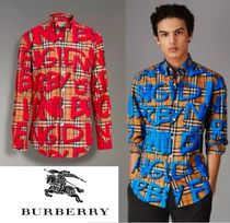 Burberry Button-down Other Check Patterns Long Sleeves Cotton Shirts