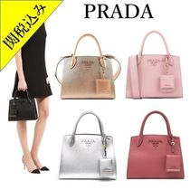 PRADA MONOCHROME  Saffiano 2WAY Plain Elegant Style Handbags