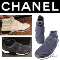CHANEL ICON Street Style Plain Oversized Sneakers