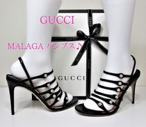 GUCCI Open Toe Leather Pin Heels Elegant Style