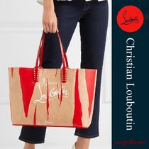 Christian Louboutin Unisex Studded Street Style A4 2WAY Leather Totes