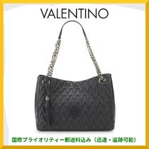 VALENTINO Studded A4 Chain Plain Leather Elegant Style Shoulder Bags
